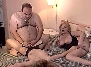Accidental old beamy man bonks two babes