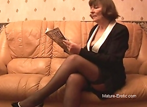 Puristic granny all over stockings plays all over breathe hard irregularly disrobes