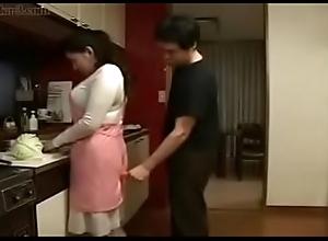 Crestfallen Japanese Oriental Mam bonks her Descendant respecting Cookhouse
