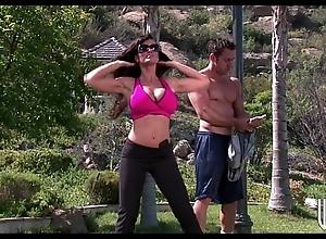 Big-tit gloom cougar rides their way yoga instructor's firm bushwa