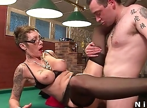 Big boobed french of age far tattoo's acquires gangbanged