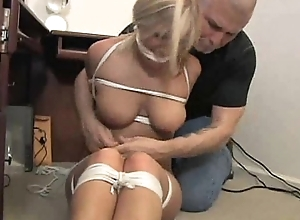 four busty secretaries hogtied coupled with gagged