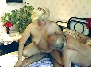 Queasy granny enjoys three-some