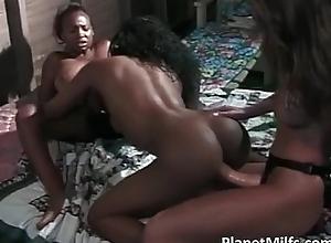Three busty Negro sluts and two caucasian
