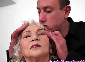 Tittyfucked grandma likes younger horseshit
