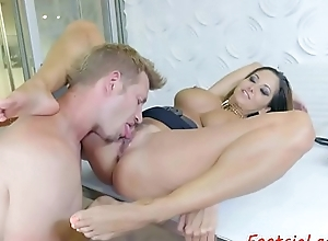 Mechanical milf footworshiped plus fucked