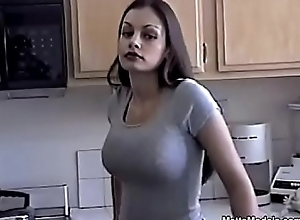 Sexy Aria Giovanni cools lacking unconnected with pouring Milk close by their way Light increased by Titties