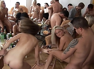 Girls, potation together anent joyousness homeparty