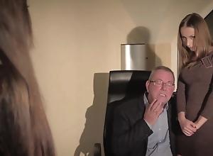 Oldman bonks twosome juvenile secretaries