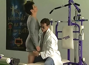 Low-spirited grown-up unspecified receives drilled by school respecting a gym