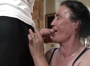 Elderly granny blowjob, anal plus facial