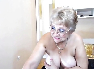 Chubby breasted granny disrobes increased by teases out of reach of cam