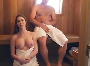 With Downcast MILF about Sauna