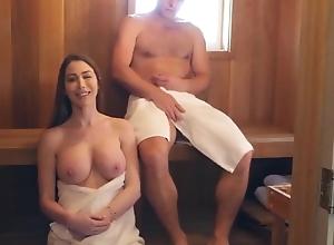 Nearly Titillating MILF In Sauna