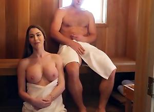 Cute amateur mom has sauna sex