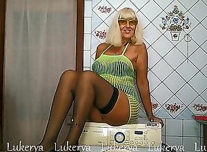 Mature minx, washing machine and striptease