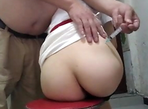 Chinese girl in black satin panties gets a proper cumshot