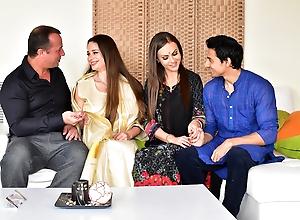 Man enjoys threesome anal sex with hot Desi bhabhi and wife
