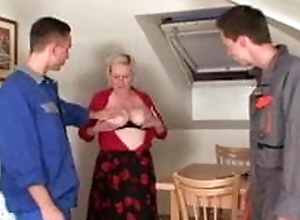 Fixing the machine, fucking the busty granny