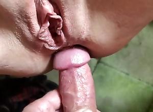shaved mature slut gets both holes fucked, close-up