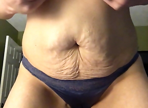 Wife with natural tits, satin panties masturbating