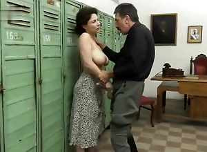 Grandpa with a mustache and a huge cock fucks