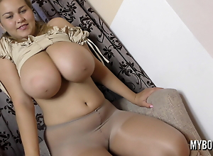 Pregnant young BBW in tights solo. Huge bouncing boobs