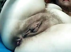 Hairy big mature cunt with long labia, big holes, amateur