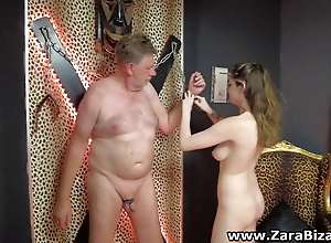 Sexy Femdom torture old slave and such him out with cbt