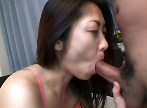 Uncensored hairy Japanese wife gives the most important blowjob ever