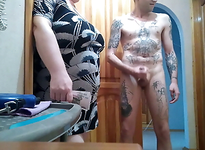 she came for money and watches me jerk off my cock