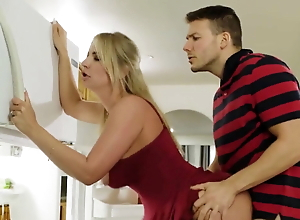 Mom and son fucked behind dad