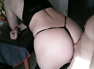 Step son plays with mom's ass, but he slides inside and