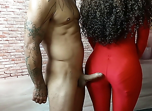Jerking off to mature pawg's ass in body suit – cfnm